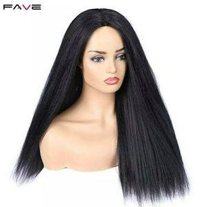 Lovely Yaky Straight Deep Center Part Hair Wig